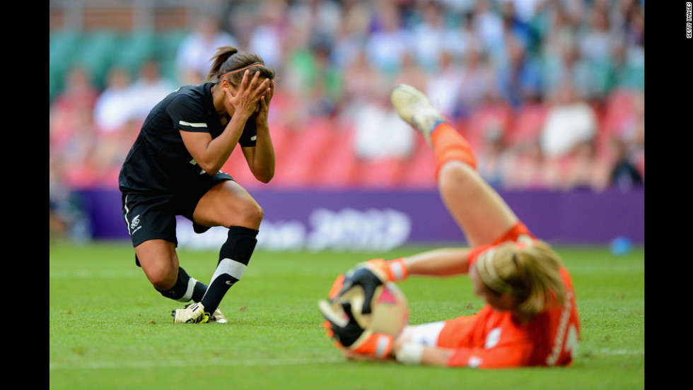 Sarah Gregorius of New Zealand reacts after Karen Bardsley of Great Britain saves the ball, barring her from scoring a goal.