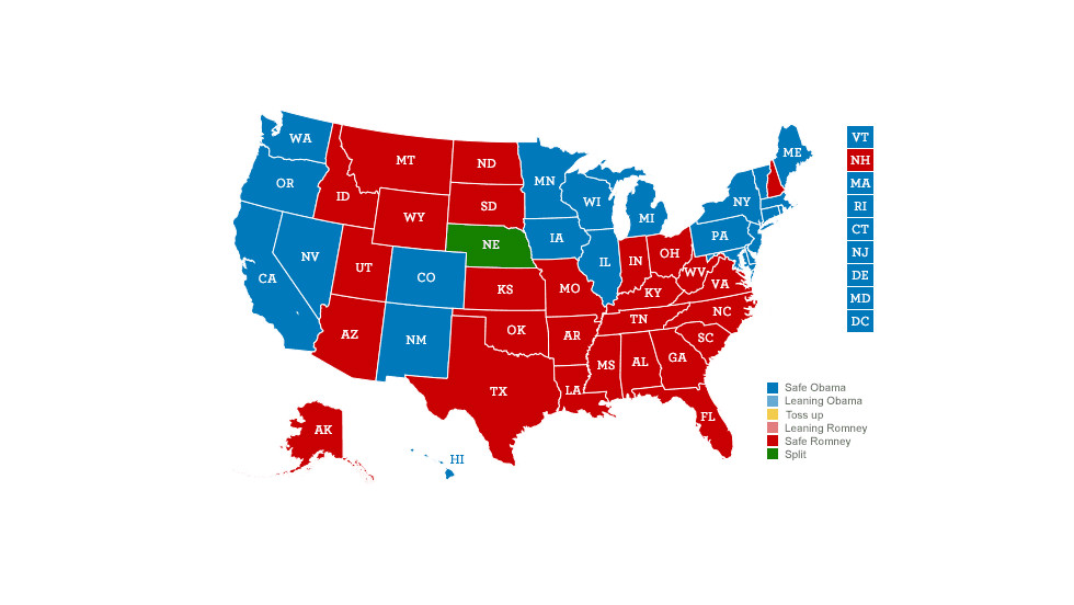 Click through seven scenarios that could yield a tie in the Electoral College that would make the disputed 2000 election look tame by comparison. 1) <strong>Obama takes one vote in Nebraska: </strong>Obama wins Nevada, Colorado, Iowa, and a single electoral vote from the 2nd Congressional District of Nebraska, which awards its electoral votes by congressional districts; Romney wins New Hampshire, Virginia, Florida and Ohio.