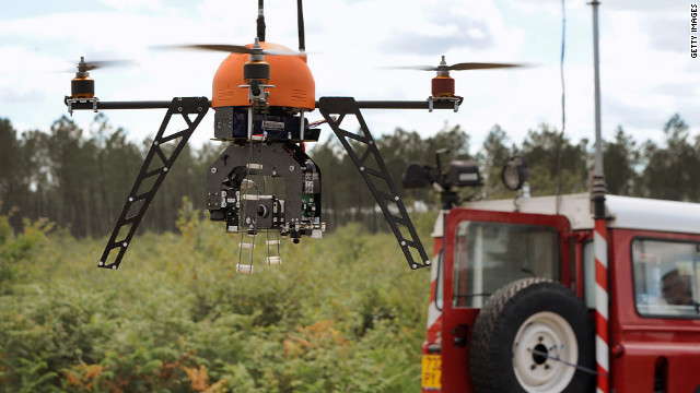 Unmanned Aerial Vehicles like this one allow fire departments to fight flames from a distance in real-time.