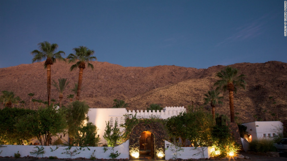 If you can't decide whether to stay in America or go abroad, Korakia Pensione brings the world to you in Palm Springs, California. With North African accents and Morrocan architecture, the inn is a wordly magnet for photo shoots.