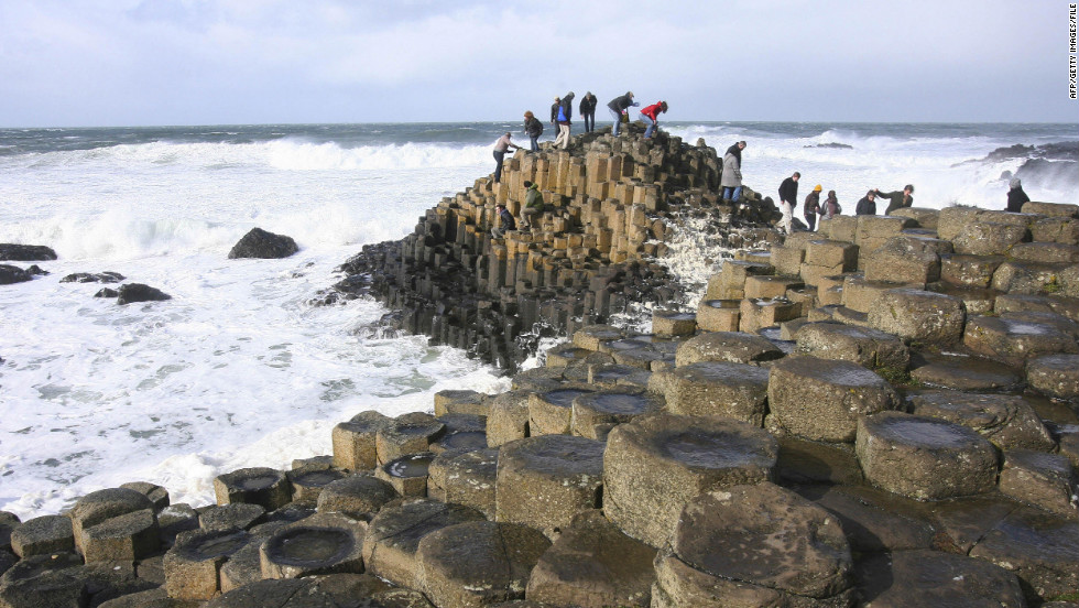 Giant's Causeway in Northern Ireland is made up of 38,000 basalt columns that formed 50 million to 60 million years ago.