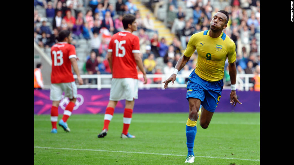 Gabon's Pierre-Emerick Aubameyang, right, celebrates after scoring a goal during the men's soccer match against Switzerland on Thursday in Newcastle-upon-Tyne, England.
