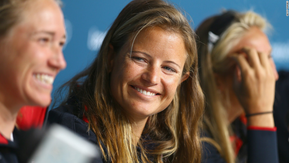 Amanda Clark of the U.S. sailing team chats with reporters Thursday during a press conference in Weymouth, England.