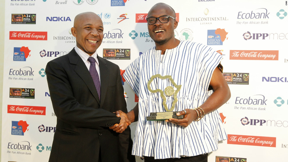 "Joy FM's Joshua Anny celebrates after winning the award for Radio General News for his work, ""Scatters Paradise."""