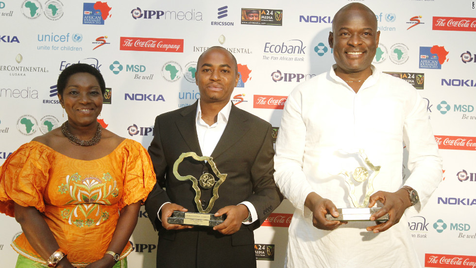 "Kenya's Citizen TV gets several honors on the night when journalists Tom Mboya (right) and Evanson Nyaga (left) win both the Television Features Award and are the overall winners of the CNN MultiChoice African Journalist Awards 2012 for their work called ""African tribe in India."""