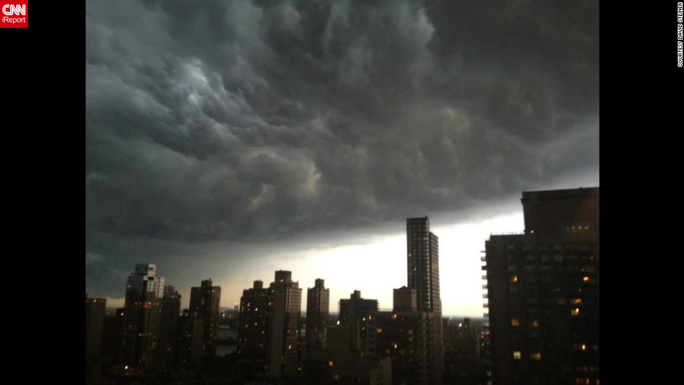"Another iReporter, David Steiner, snapped these thick gray clouds from Manhattan's Upper East Side at about 7:30 Thursday night. ""One moment I was having dinner and  the sky was almost clear, and then we looked out an saw this huge dark mass of clouds,"" Steiner says. ""The rain and lightning and thunder came later."""