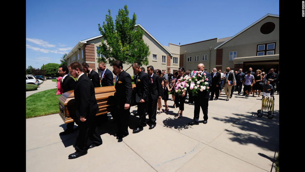 Pallbearers carry Micayla Medek's coffin during her funeral at the New Hope Baptist Church on Thursday.