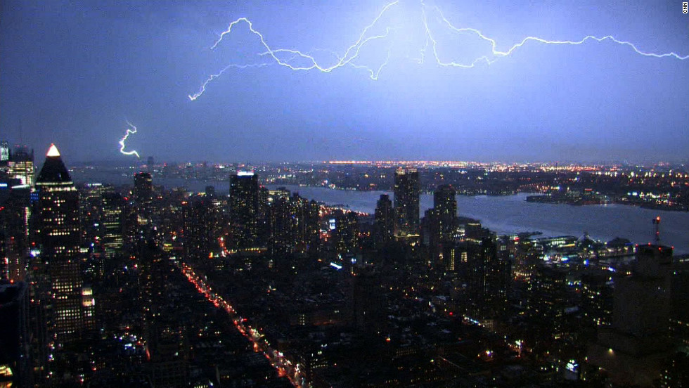 Lightning forks over the New York skyline.