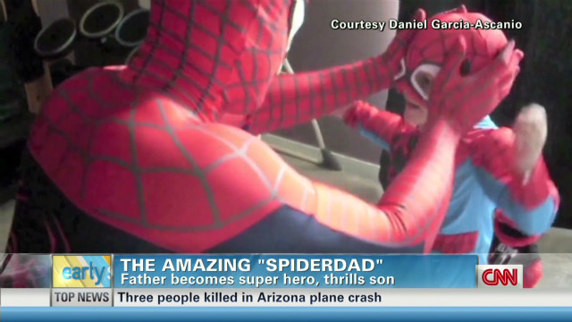 'Spider-Man' dad's trampoline surprise