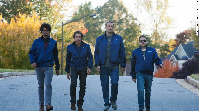 "Richard Ayoade, from left, Ben Stiller, Vince Vaughn and Jonah Hill team up as neighborhood watchmen in ""The Watch."""