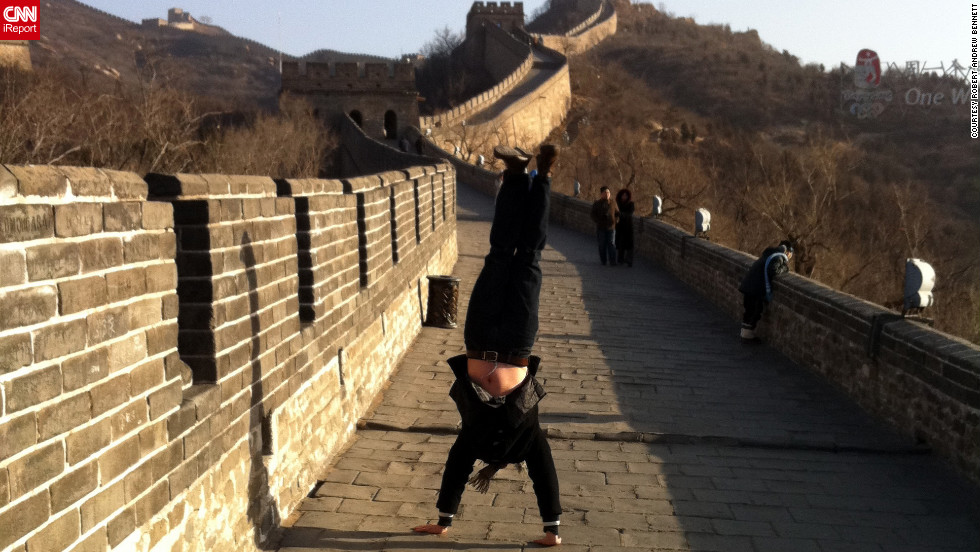 Bennett inverts himself at the Great Wall of China in 2010.