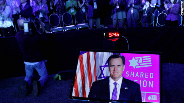 Mitt Romney addresses American Israel Policy Affairs Committee's annual policy conference via a satellite link in March.