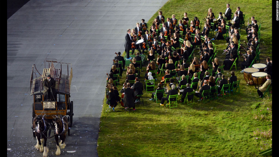 The London Symphony Orchestra performs during the opening ceremony.