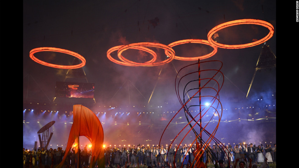 Olympic rings are assembled.