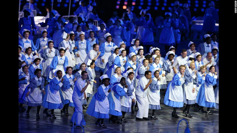 Performers from the GOSH, Great Ormond Street Hospital, perform during the opening ceremony.