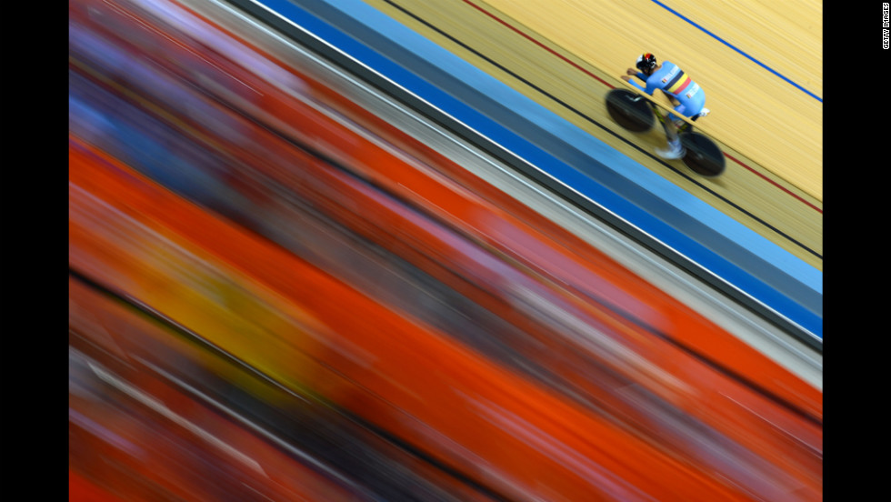 A Belgian cyclist rides during a track cycling practice session ahead of the 2012 Olympic Games on Friday in London.