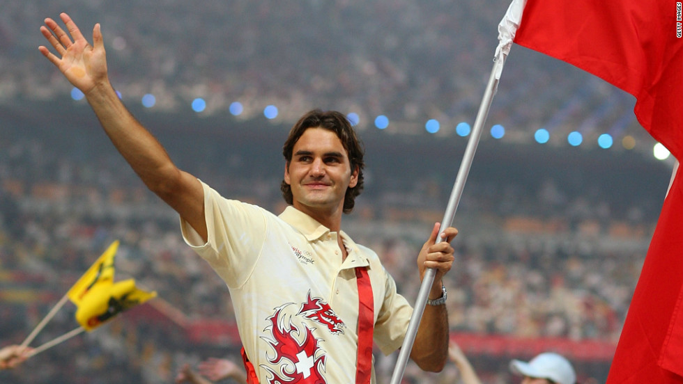 The tennis star was again chosen as flag bearer at Beijing 2008 despite failing to earn a medal in his two previous Olympic appearances.