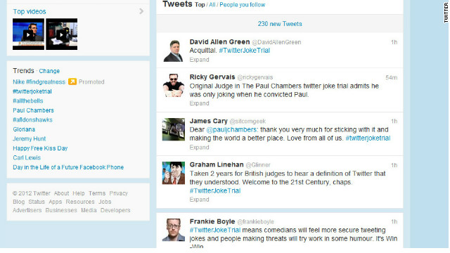 Messages of support flooded into Twitter following the court verdict to clear Paul Chambers of sending a menacing tweet.