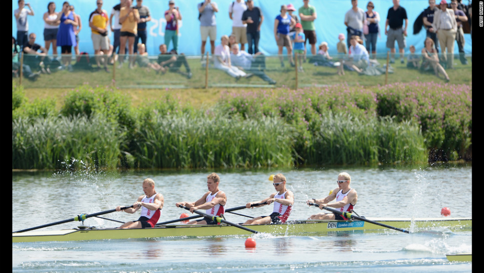 Rowers from Denmark compete in the men's lightweight four heats at Eton Dorney near Windsor, England.