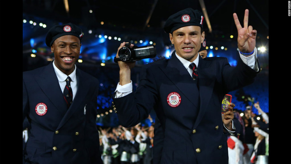 Members of the U.S. Olympic team enter the stadium during the opening ceremony.