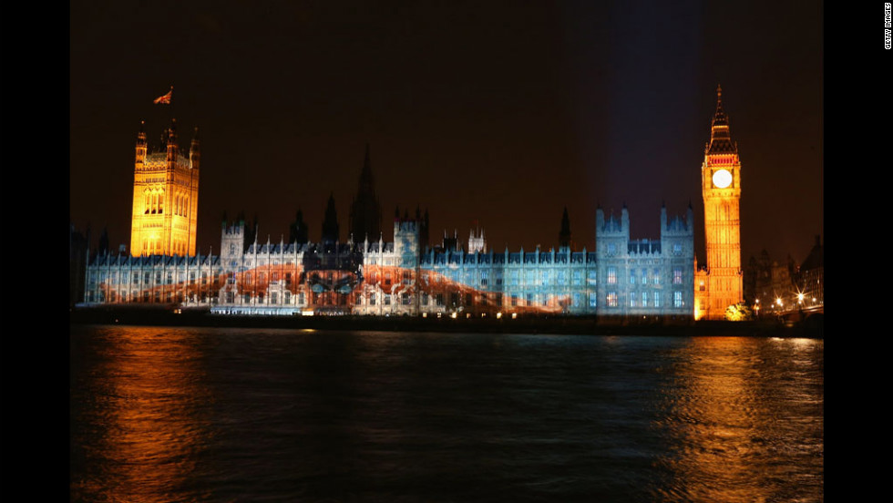 A massive image of American swimmer Michael Phelps is projected onto Parliament as London geared up for the opening ceremony Friday.
