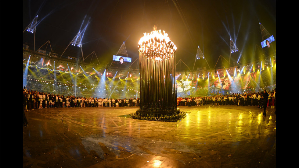 The lit cauldron inside the Olympic Stadium.