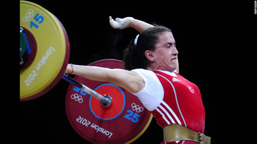 Turkey's Nurdan Karagoz is competing in women's weightlifting.
