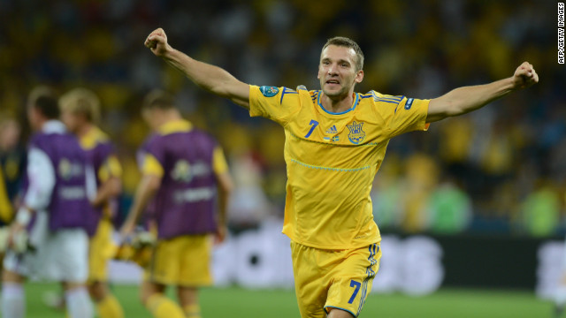 Andriy Shevchenko celebrates scoring for Ukraine at Euro 2012.
