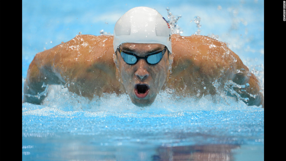 U.S. swimmer Michael Phelps competes in his 400-meter individual medley heat.