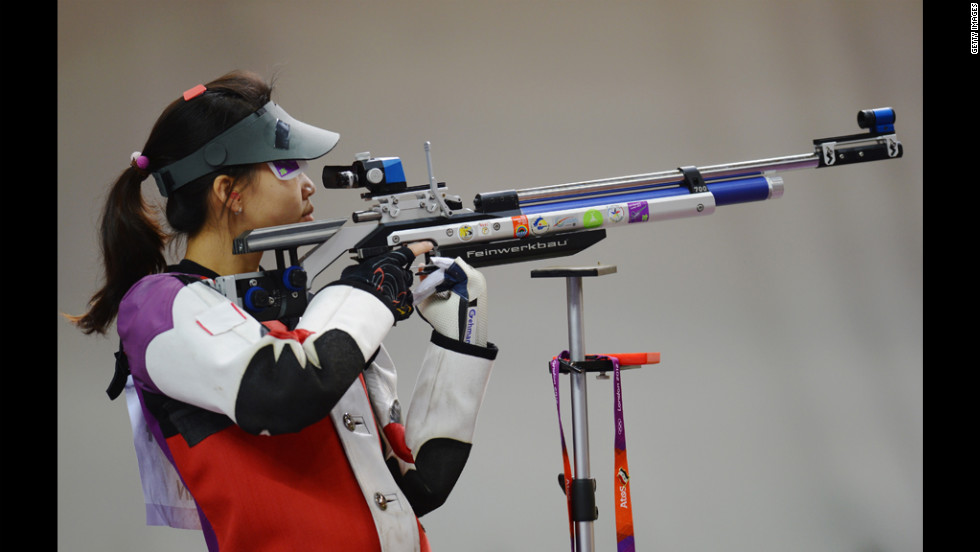Siling Yi of China competes for the gold at the Royal Artillery Barracks.