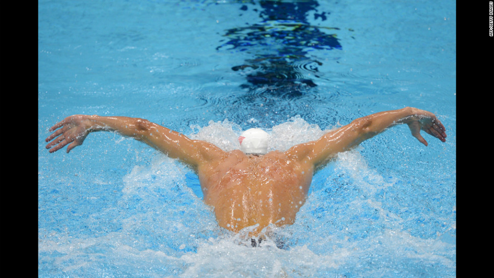 U.S. swimmer Michael Phelps competes in the men's 400 meter individual medley heats.