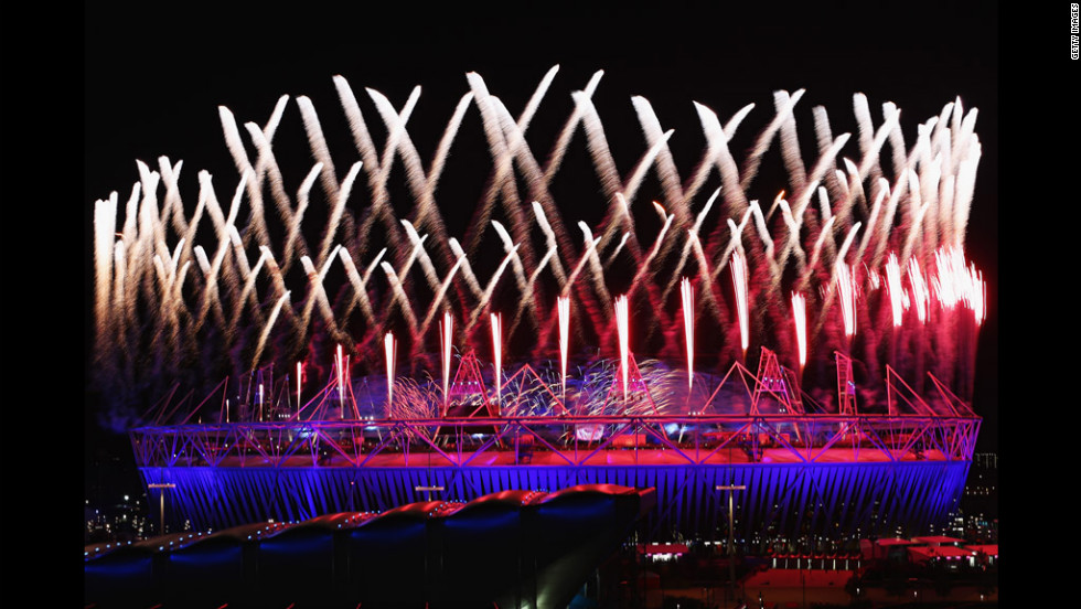 Fireworks are let off over the Olympic stadium