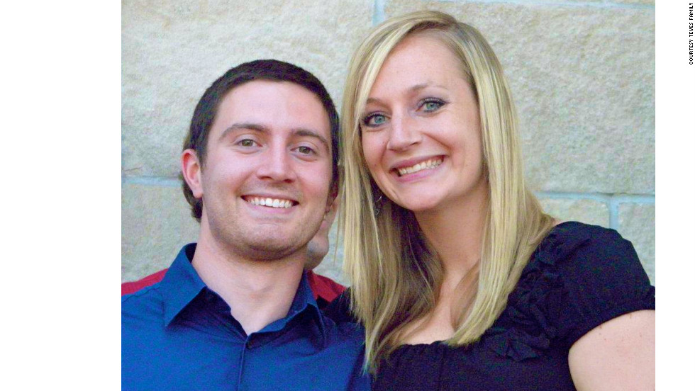"""Girlfriend Amanda Lindgren credits Teves with saving her life in the deadly shooting spree during the screening of """"The Dark Knight Rises."""""""