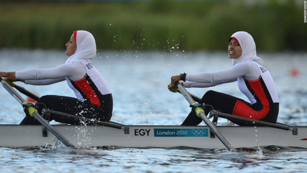 Egypt's Sara Mohamed Baraka, right, and Fatma Rashed compete in the women's lightweight double sculls heats for rowing.