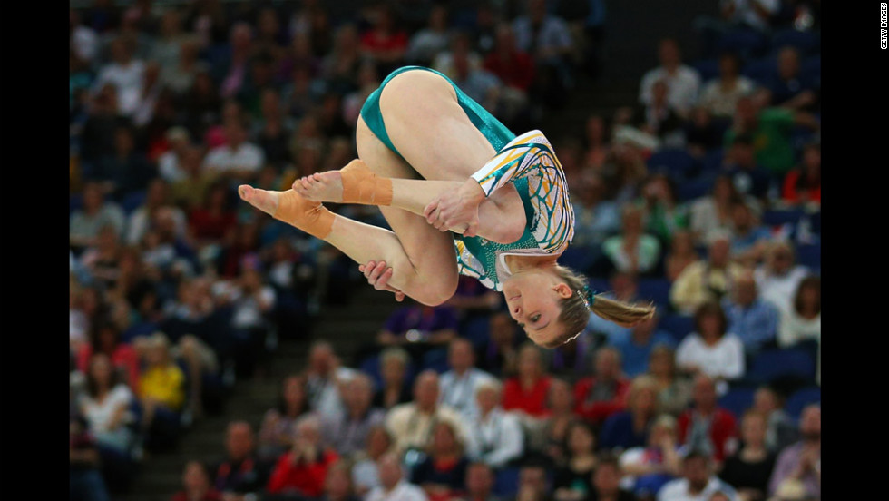 Australia's Lauren Mitchell competes in the floor exercise in the artistic gymnastics women's team qualification round at North Greenwich Arena.