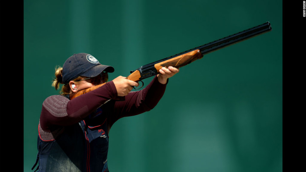 American Kimberly Rhode competes in the qualification round for women's skeet shooting. Rhodes went on to win a gold medal.