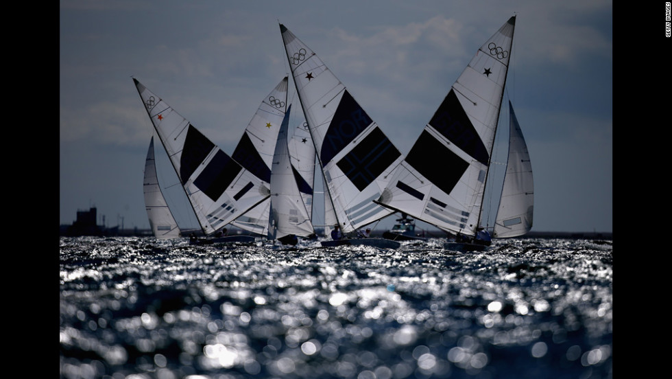 Germany's Robert Stanjek and Frithjof Kleen are in action in the first Star class race in Weymouth, England.