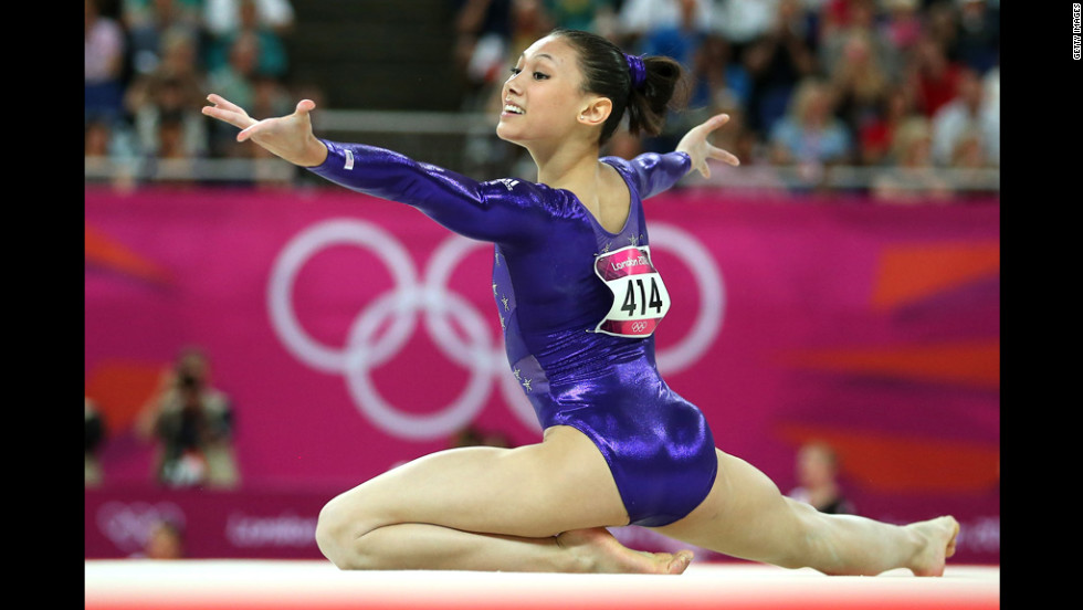 American Kyla Ross competes in the floor exercise in the artistic gymnastics women's team qualification round.