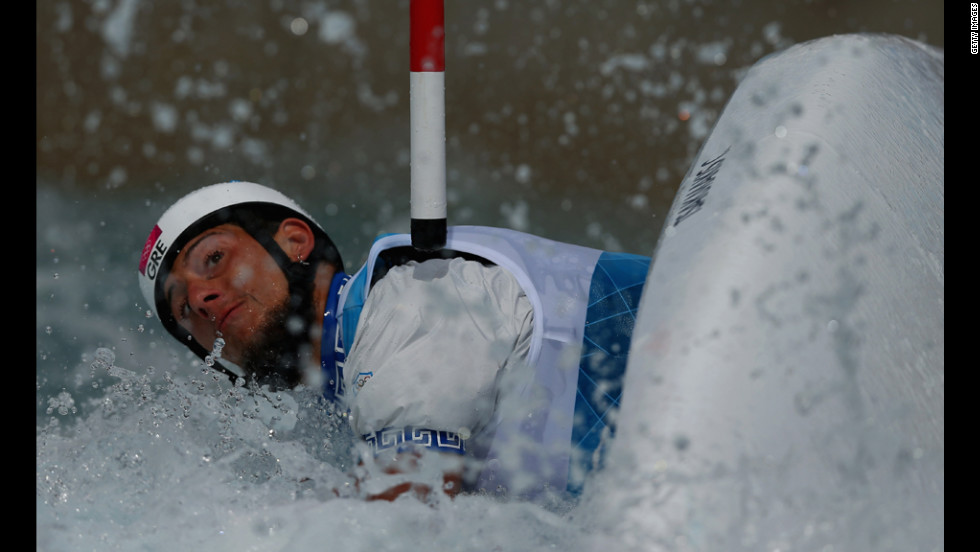 Christos Tsakmakis of Greece competes during the men's canoe single slalom.