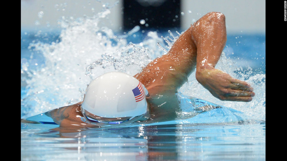 U.S. swimmer Ryan Lochte competes in the men's 200-meter freestyle.