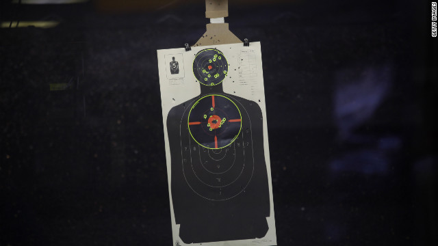A target sheet hangs at a shooting range in Aurora, Colorado, where the recent mass shootings occurred in a movie theater.
