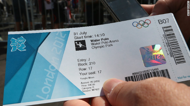 A member of the public holds a ticket for the water polo during Day 3 of the London 2012 Olympic games.