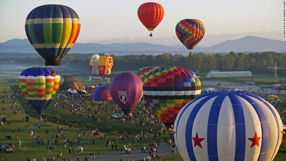 Celebrating 40 years of festivity, the lineup at this year's Adirondack Balloon Festival in Glen Falls, New York, includes a balloon shaped like a birthday cake.