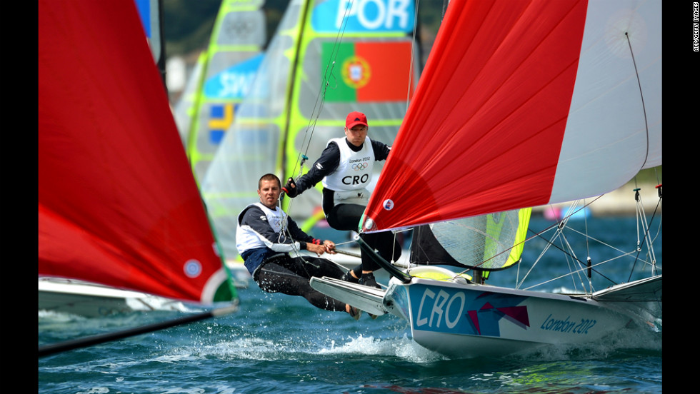 Croatia's Petar Cupac and Pavle Kostov sail through the fleet in the 49er sailing class on Monday in Weymouth.
