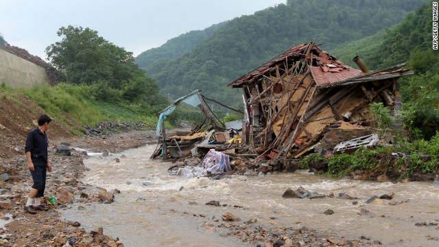 Heavy rain hit the capital Pyongyang, as well as North and South Phyongan provinces last week. The country faced similar extreme weather in 2010 (as pictured here in the Pyongyang province.)