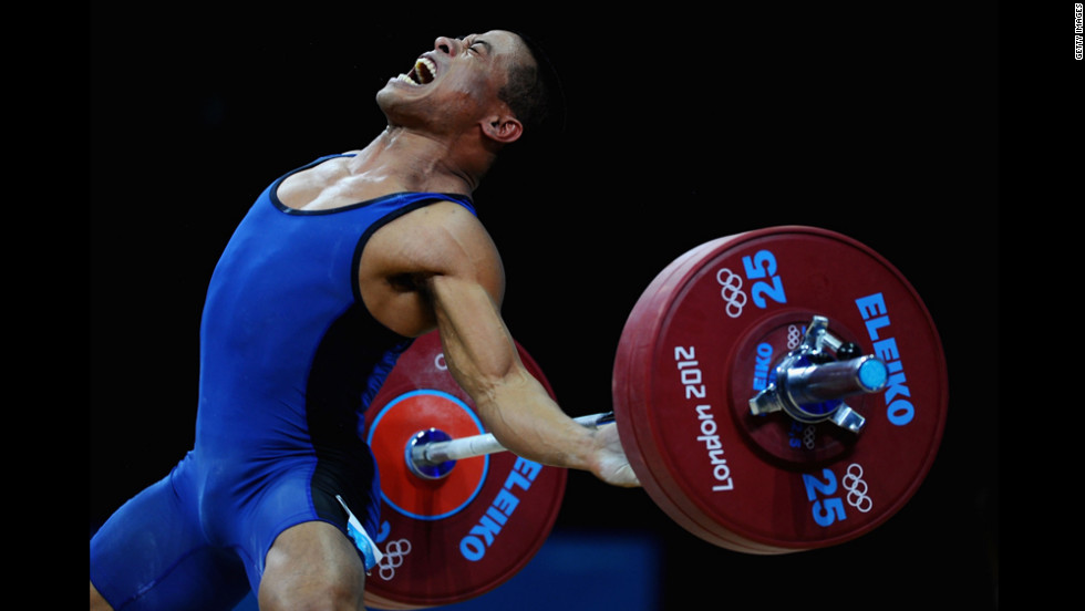 Manuel Minginfel of the Federated States of Micronesia competes in the Men's 62-kilogram weightlifting competition Monday.
