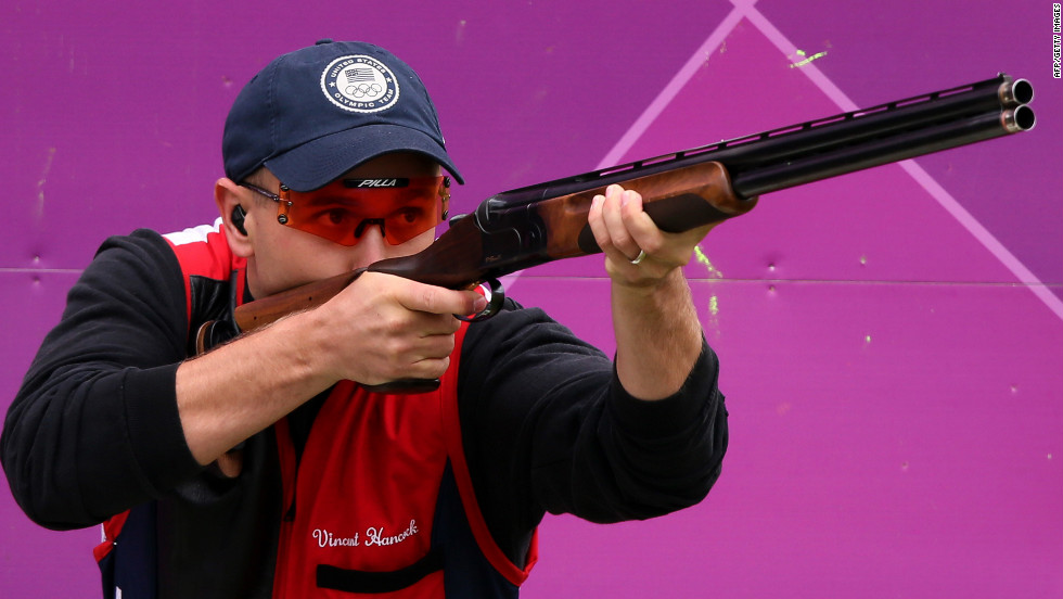 Hancock aims during the men's skeet shooting qualification round Tuesday at the Royal Artillery Barracks in London. The U.S. Army sergeant also won a gold medal in the 2008 Bejing Olympics.