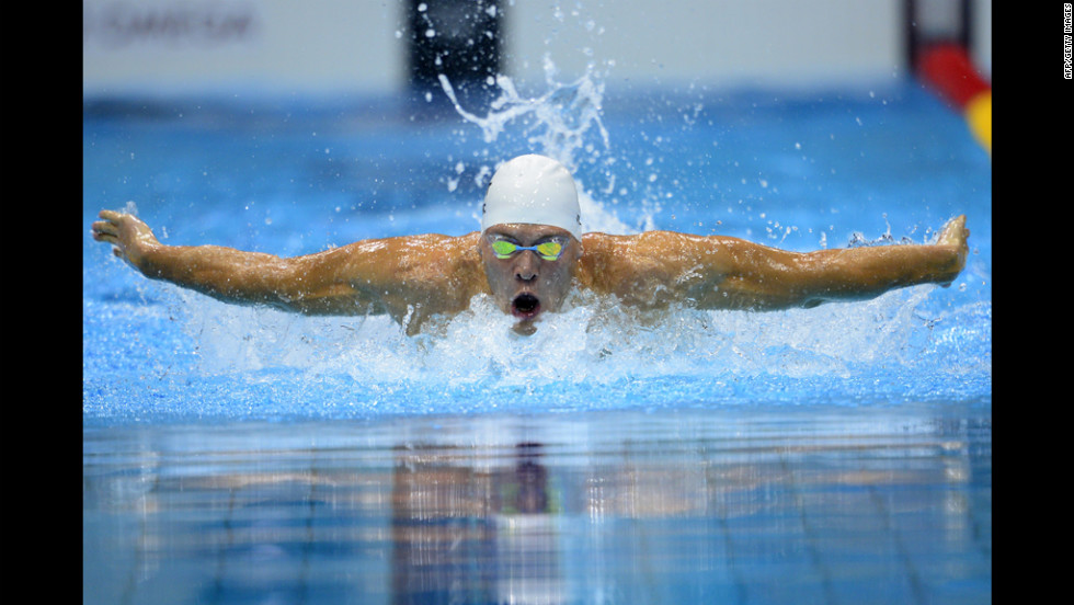 Austria's Dinko Jukic competes in the men's 200-meter butterfly semifinal swimming event.