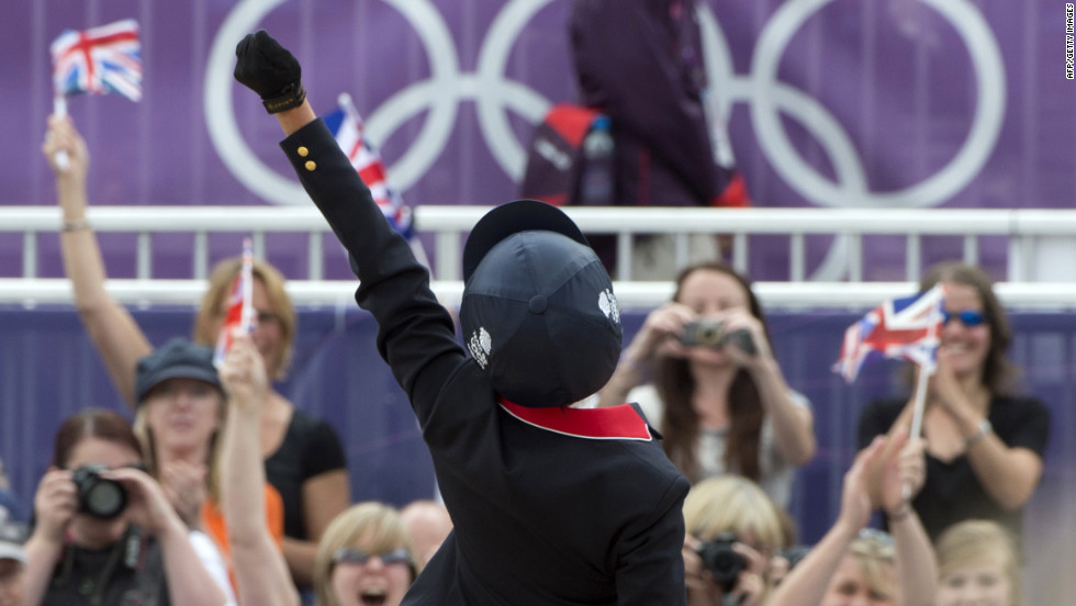 Britain's Mary King on Imperial Cavalier competes in the team show jumping phase of the equestrian eventing competition Tuesday at Greenwich Park.