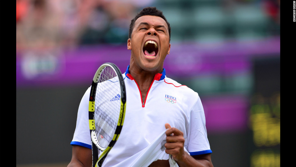 Jo-Wilfried Tsonga of France screams out after losing a point during the men's singles second-round tennis match at Wimbledon on Tuesday.